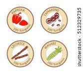 set of herbs labels. 100... | Shutterstock .eps vector #512329735