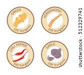 set of herbs labels. 100... | Shutterstock .eps vector #512329741