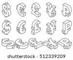 isometric set black line icons... | Shutterstock .eps vector #512339209