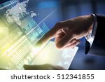businessman hand touching with... | Shutterstock . vector #512341855