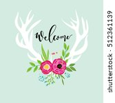 deer with floral decoration and ... | Shutterstock .eps vector #512361139