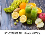 green smoothie in bottle with... | Shutterstock . vector #512368999