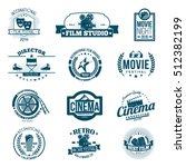 black cinema retro signs ... | Shutterstock .eps vector #512382199