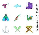 Catch Fish Icons Set. Cartoon...