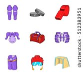 hockey game icons set. cartoon...   Shutterstock .eps vector #512383951