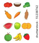 assorted fruits and vegetables... | Shutterstock .eps vector #51238762
