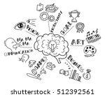 human brain doodle  | Shutterstock .eps vector #512392561