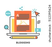 a laptop with blogging activity.... | Shutterstock .eps vector #512395624