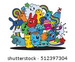 hipster hand drawn crazy doodle ... | Shutterstock .eps vector #512397304