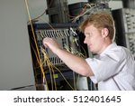 the telecom engineer adjusts...   Shutterstock . vector #512401645