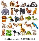 different types of wild animals ... | Shutterstock .eps vector #512402101