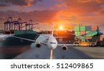 container ship in import export ... | Shutterstock . vector #512409865