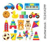 cartoon children toys vector...   Shutterstock .eps vector #512414299