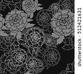 peonies seamless pattern. peony ... | Shutterstock .eps vector #512421631