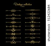 gold calligraphic page dividers.... | Shutterstock .eps vector #512422684