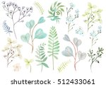 watercolor set with forget me... | Shutterstock . vector #512433061