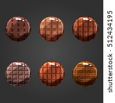 set of shiny chocolate circle...