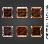 set of shiny chocolate  square...