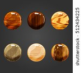 set of shiny wooden circle...