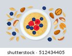 porridge oats in bowl with nuts ... | Shutterstock .eps vector #512434405