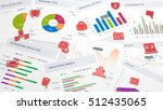 table with various charts about ... | Shutterstock . vector #512435065