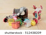 santa claus doll with gift... | Shutterstock . vector #512438209