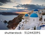 view of oia village on... | Shutterstock . vector #512442091