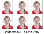 Stock photo passport picture or identification photo of a young blond girl 512458987