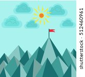 flag on top of the mountain to... | Shutterstock .eps vector #512460961