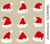 santa red hat isolated on... | Shutterstock .eps vector #512485981