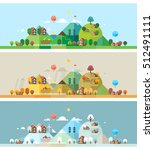 rural landscape. three seasons  ... | Shutterstock .eps vector #512491111