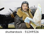 Wwii Fighter Pilot With Map An...