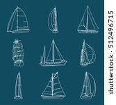 set of 9 boats with sails made... | Shutterstock .eps vector #512496715