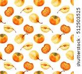 watercolor persimmon  pear hand ... | Shutterstock . vector #512503525