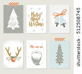 collection of 6 christmas card... | Shutterstock .eps vector #512508745