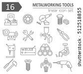 metal working tools icon set.... | Shutterstock .eps vector #512518855