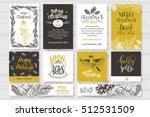 merry christmas invitation set. ... | Shutterstock .eps vector #512531509