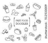 fast food doodles set | Shutterstock .eps vector #512533009