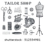 vintage tailor shop. tailor... | Shutterstock .eps vector #512554981