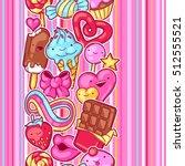 seamless kawaii pattern with... | Shutterstock .eps vector #512555521