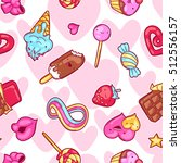 seamless kawaii pattern with... | Shutterstock .eps vector #512556157