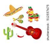 mexican set   sombrero  pinata  ... | Shutterstock .eps vector #512557675