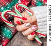 christmas nail art manicure.... | Shutterstock . vector #512562871