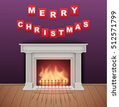 christmas and fireplace in cozy ... | Shutterstock .eps vector #512571799