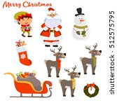 set of colorful christmas... | Shutterstock .eps vector #512575795