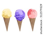 set of ice cream cones. vector... | Shutterstock .eps vector #512579329