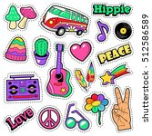 fashion hippie badges  patches  ... | Shutterstock .eps vector #512586589