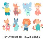 set of different cute animals ... | Shutterstock .eps vector #512588659