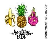 set of colorful fruits  banana  ... | Shutterstock .eps vector #512589919