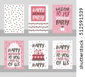 set of 6 cute creative cards... | Shutterstock .eps vector #512591539